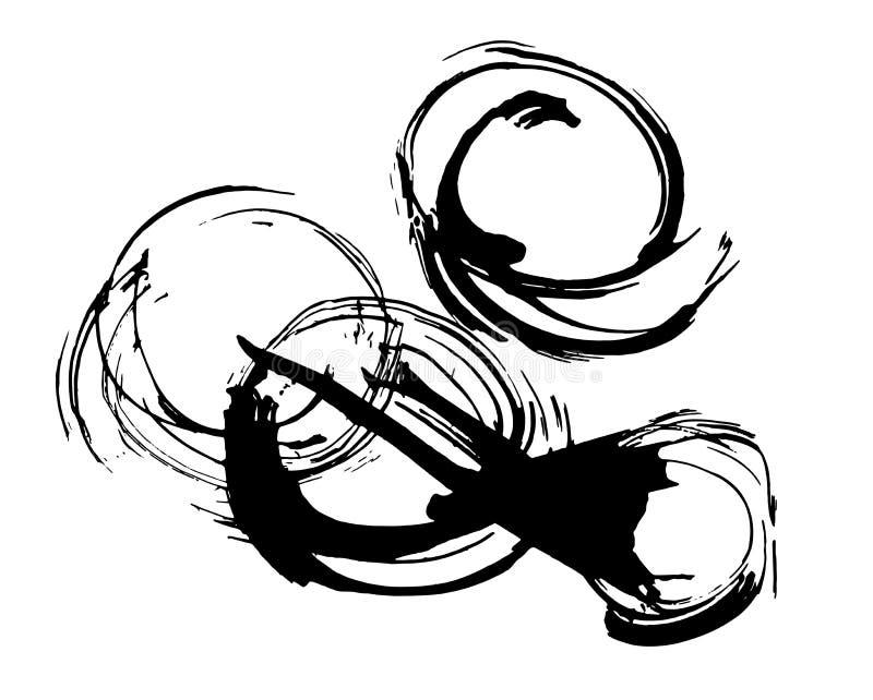 A pintura abstrata da tinta, cirlces pretos artísticos vector o teste padrão ilustração do vetor