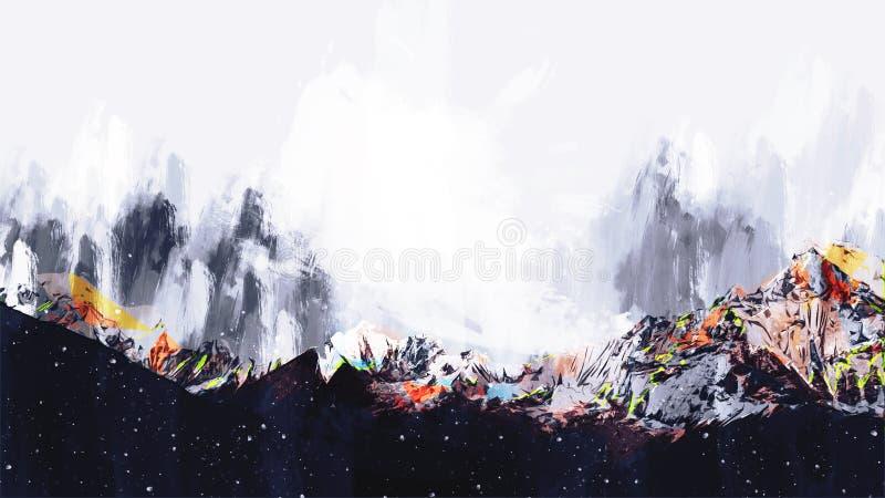 Pintura abstrata de montanhas coloridas, pintura de Digitas ilustração stock