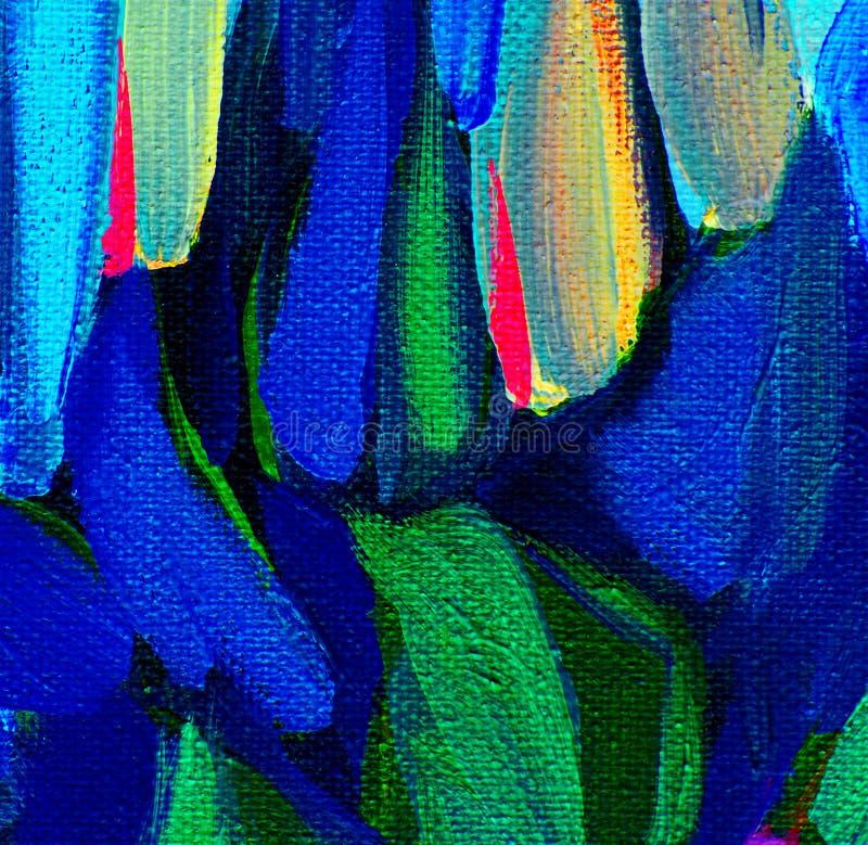 Pintura abstrata decorativa em uma lona áspera pelo óleo, illustrat ilustração royalty free