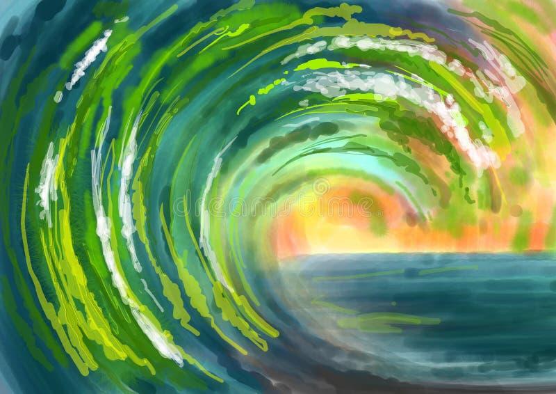 Pintura abstrata do fundo das ondas verdes de mar ilustração do vetor