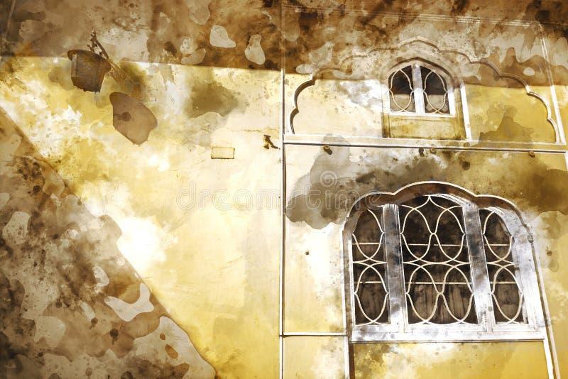 Pintura abstrata do palácio velho com as janelas no tom morno ilustração do vetor