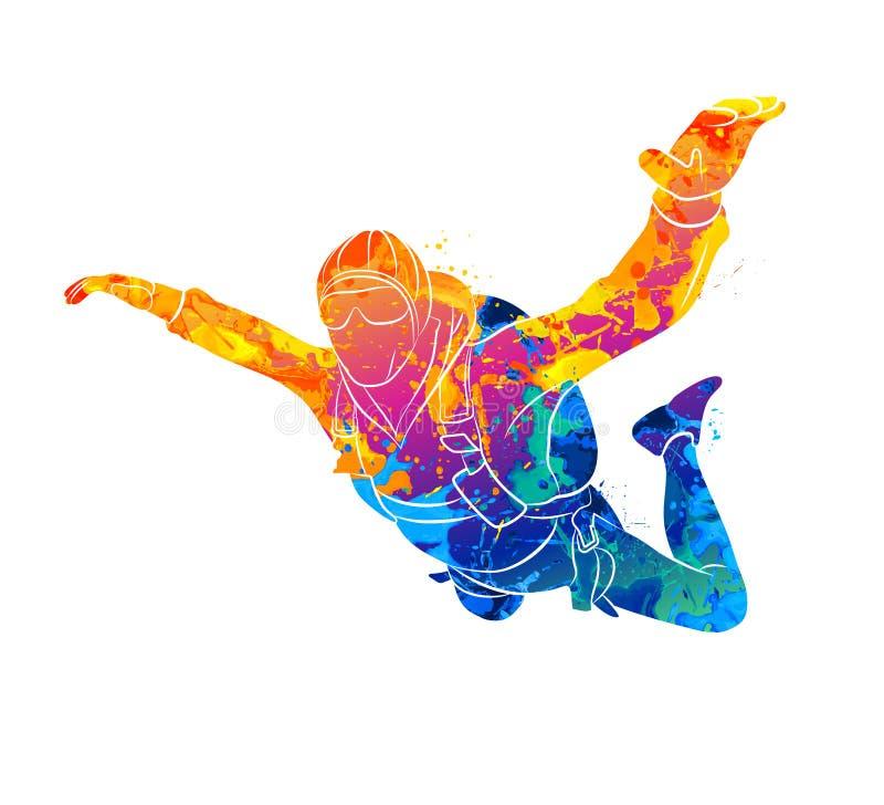 Pintura abstrata do skydiver ilustração royalty free