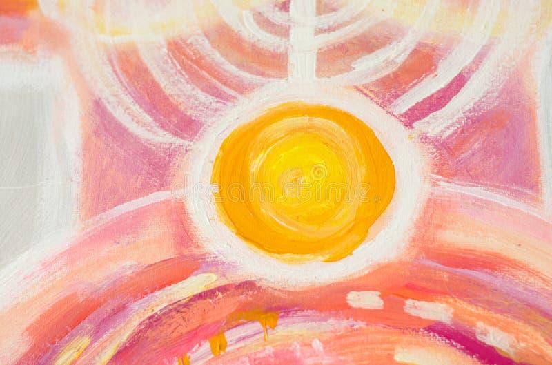 Pintura abstrata do sol, luz colorida bonita na lona ilustração do vetor