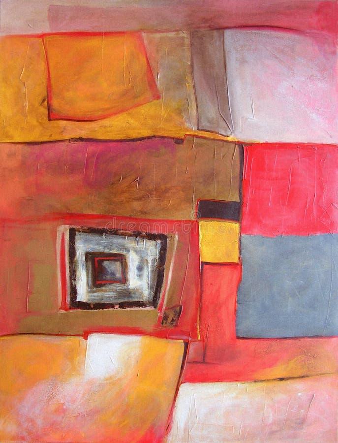 Pintura abstrata moderna - geometria e caixas ilustração royalty free