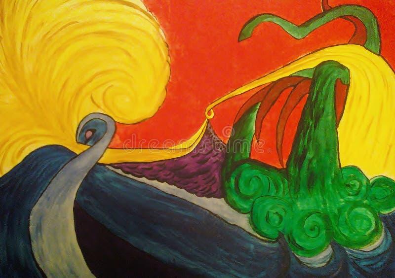 Pintura abstrata no projeto criado lona do fundo ilustração stock