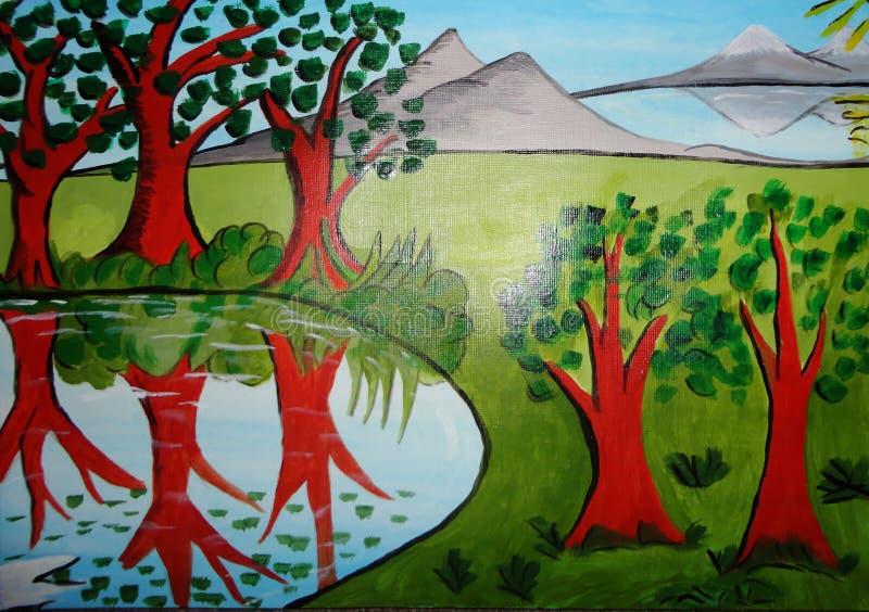 Pintura abstrata no projeto criado lona do fundo ilustração royalty free