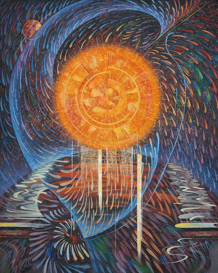 Pintura abstrata no tema: Energia do Sun Pintura imagens de stock