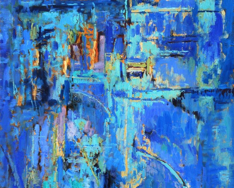 Pintura abstrata nos azuis imagens de stock royalty free