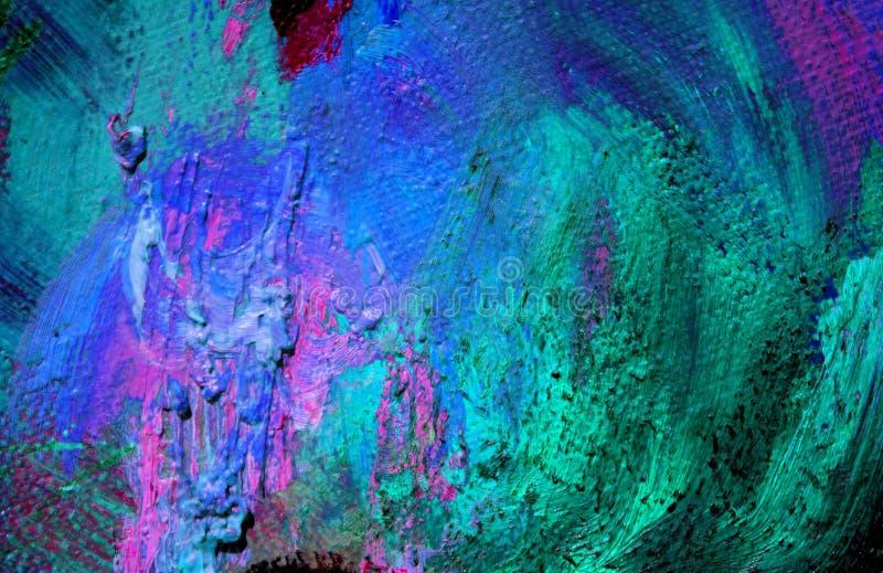 Pintura abstrata pelo óleo em uma lona, fundo imagens de stock royalty free