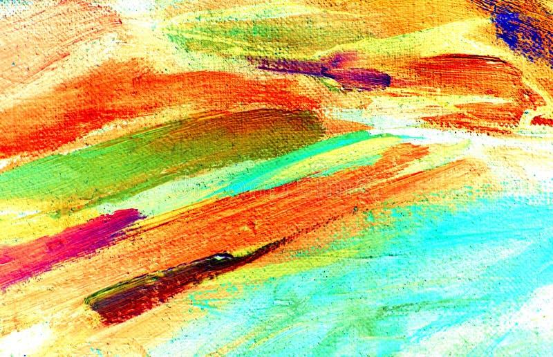 Pintura abstrata pelo óleo na lona, ilustração imagem de stock royalty free
