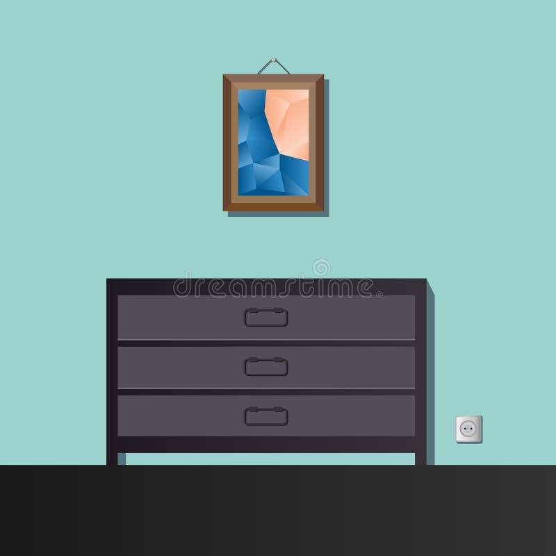A pintura acima do armário ilustração royalty free