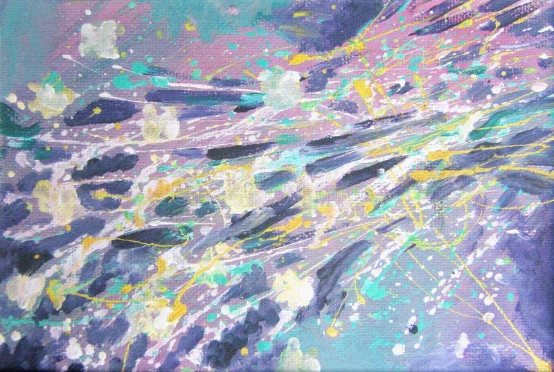 Pintura acrílica abstrata Fundo colorido à moda Flashes cósmicos ilustração royalty free