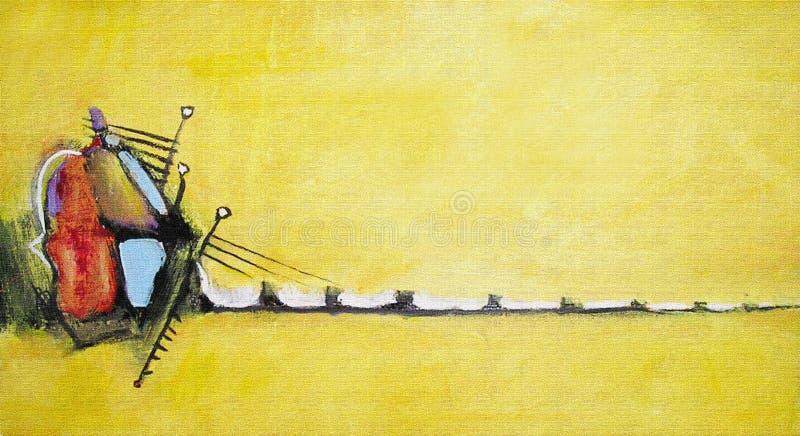 Pintura acrílica abstrata Imagem na máscara amarela ilustração do vetor