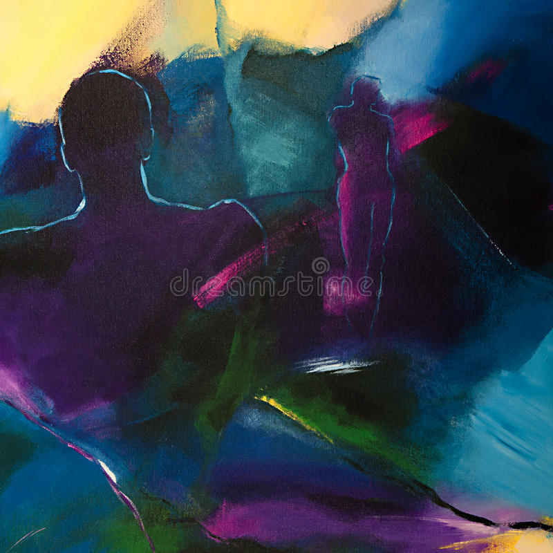 Pintura acrílica abstrata moderna com duas figuras humanas ilustração stock