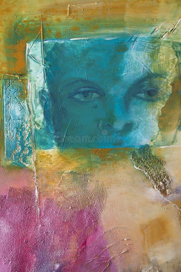 Pintura acrílica abstrata moderna com um rosto humano ilustração stock