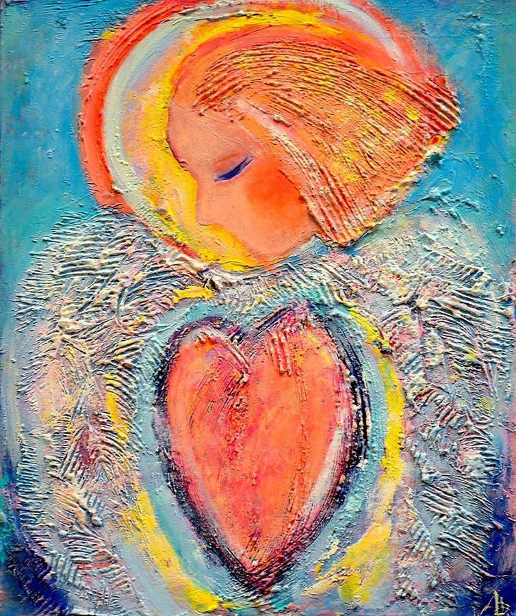 Pintura acrílica bonita na lona de um anjo misterioso no coração vermelho cercado pela asa abstrata Retrato tirado mão ilustração stock