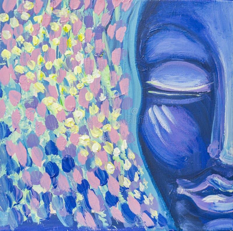 Pintura acr?lica com imagem facial na medita??o ilustração do vetor