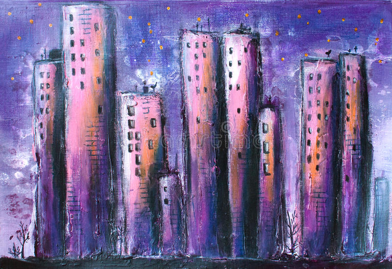 Pintura acrílica da cidade/cidade da noite ilustração stock