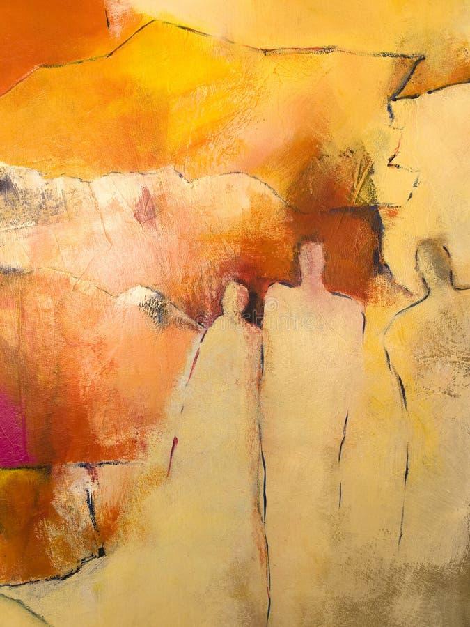 Pintura acrílica de Abstratct de um grupo de pessoas ilustração stock