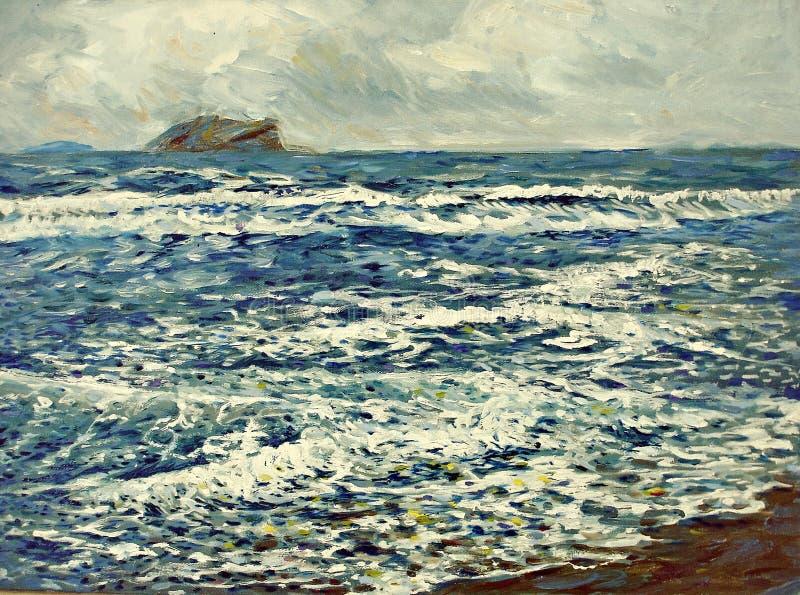 Pintura acrílica do óleo branco azul da espuma do mar fotos de stock royalty free