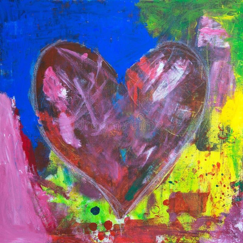 Pintura acrílica do coração abstrato ilustração do vetor