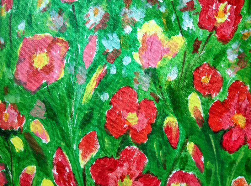 Pintura acrílica do fundo floral fotografia de stock