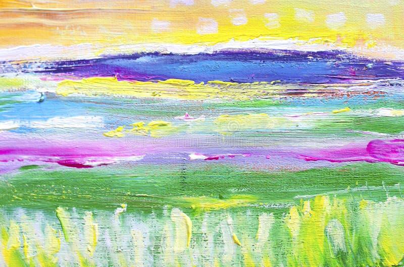 Pintura acrílica na lona Fundo da arte abstrata ilustração do vetor
