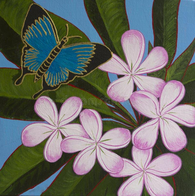 Pintura acrílica original - borboleta & Frangipani ilustração stock