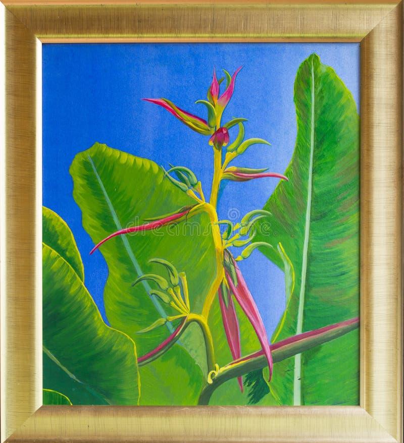 Pintura acrílica original da flor tropical ilustração do vetor