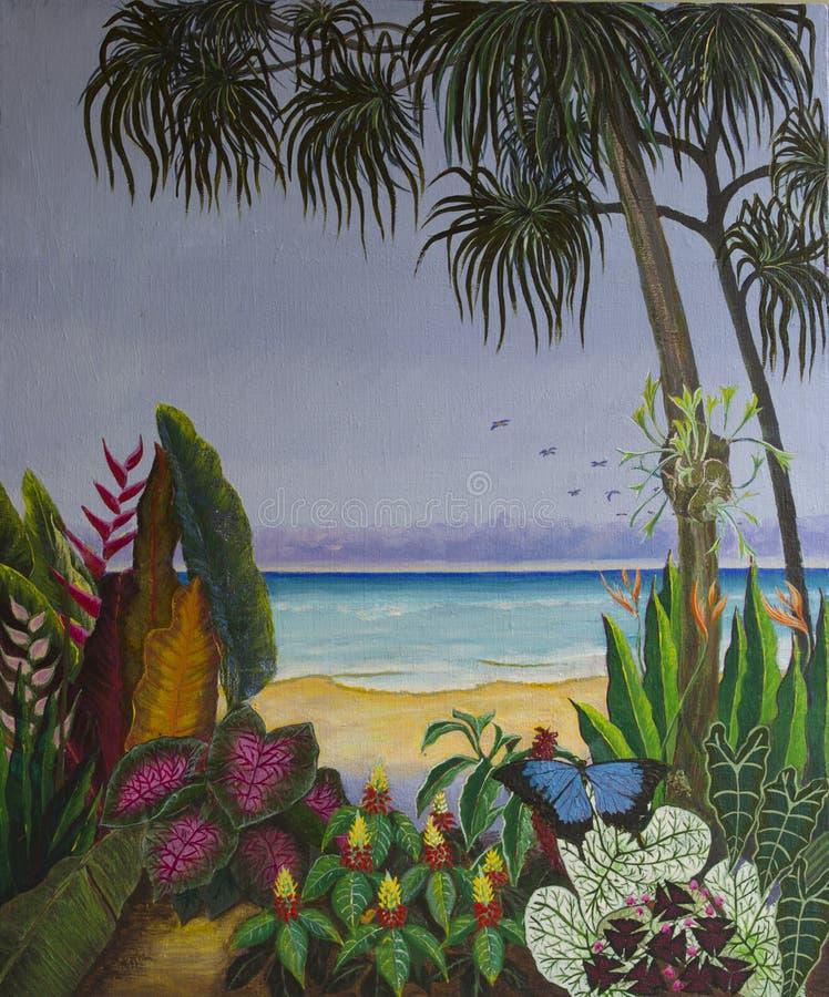 Pintura acrílica original da praia tropical ilustração do vetor