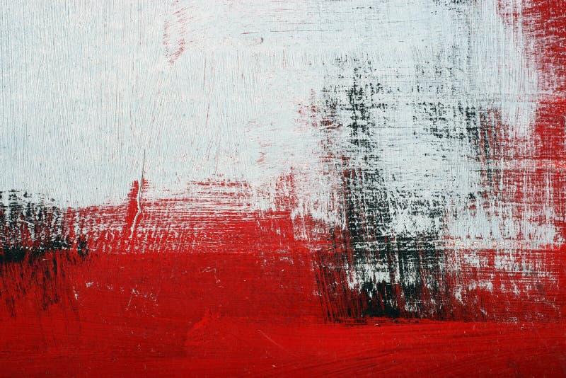 Pintura acrílica preta, branca, vermelha na superfície de metal brushstroke ilustração do vetor