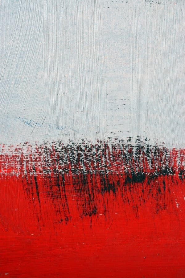 Pintura acrílica preta, branca, vermelha na superfície de metal brushstroke imagens de stock royalty free