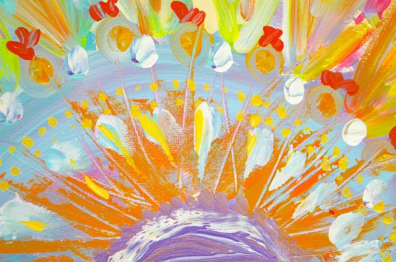 Pintura acrílica tirada mão Fundo da arte abstrata Pintura acrílica na lona Textura da cor Fragmento da arte finala brushstrokes ilustração do vetor