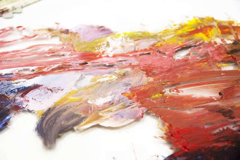 Pintura acr?lica tirada m?o Fundo da arte abstrata Pintura acr?lica na lona Textura da cor Fragmento da arte finala brushstrokes fotografia de stock royalty free