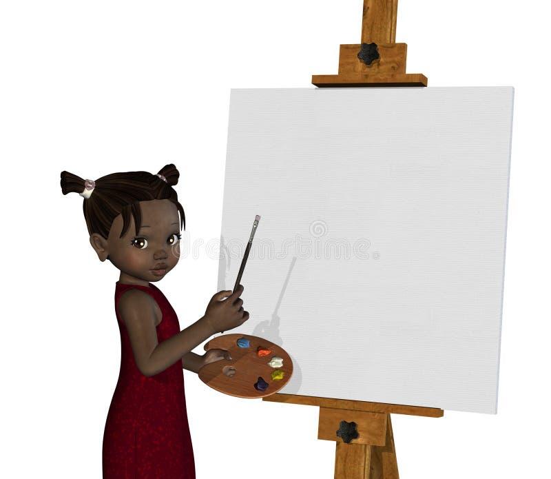 Pintura africana da menina dos desenhos animados