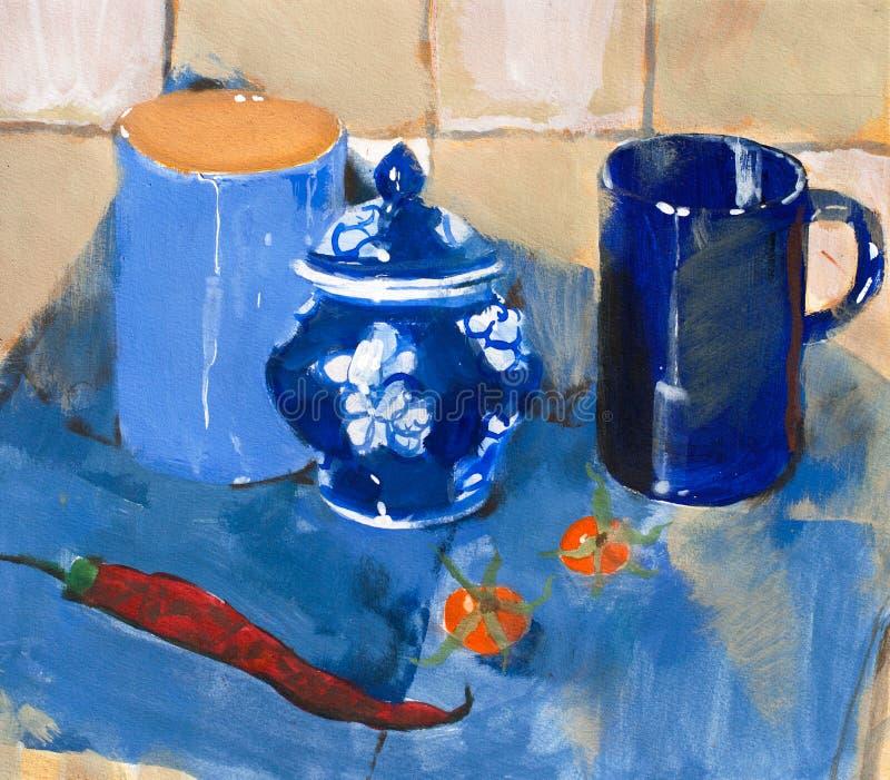 Pintura. Ainda vida com copos e pimenta azuis fotografia de stock royalty free