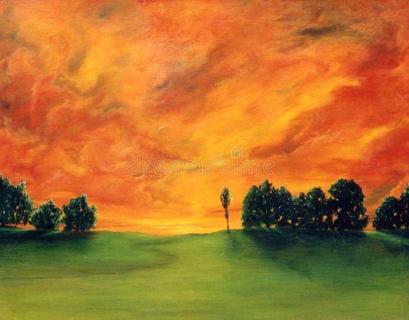 Pintura al óleo stock de ilustración