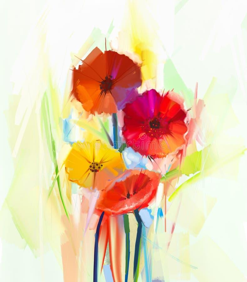 Pintura al óleo abstracta de las flores de la primavera Todavía la vida del gerbera amarillo y rojo florece stock de ilustración