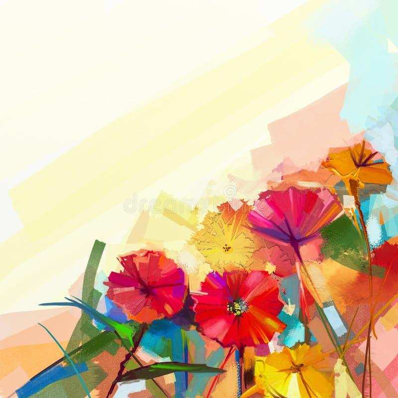 Pintura al óleo abstracta de las flores de la primavera Todavía vida de la flor amarilla y roja del gerbera libre illustration