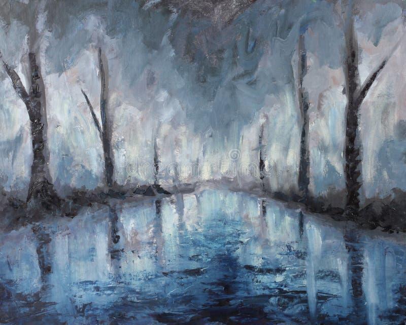Pintura al óleo abstracta del paisaje de la noche, reflexión de árboles en agua ilustración del vector