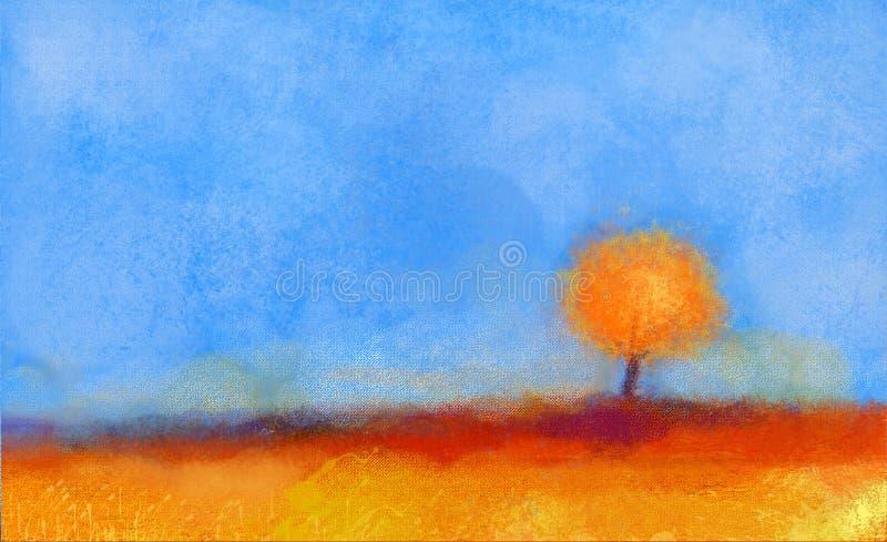 Pintura al óleo abstracta del paisaje, del árbol y del campo ilustración del vector