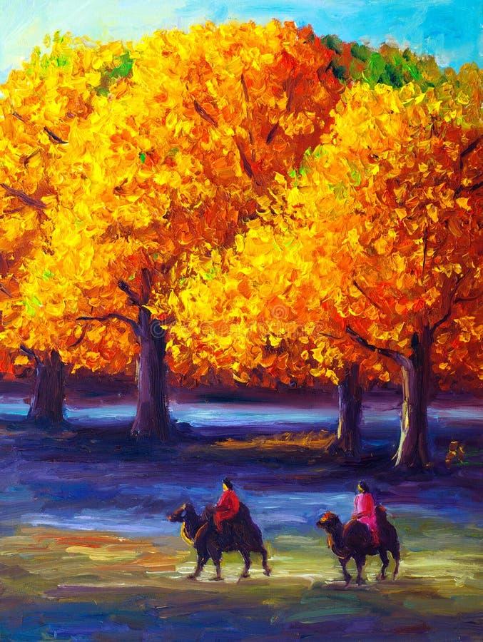 Pintura al óleo - arce en otoño ilustración del vector