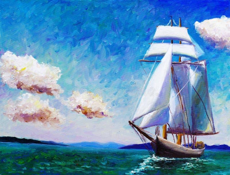 Pintura al óleo - barco de navegación ilustración del vector
