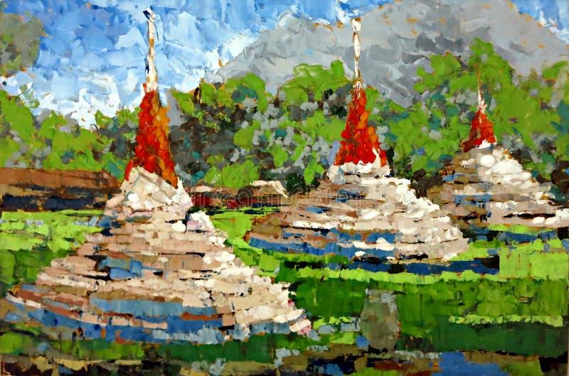 Pintura al óleo blanca antigua de la emoción de la expresión de la pagoda foto de archivo libre de regalías