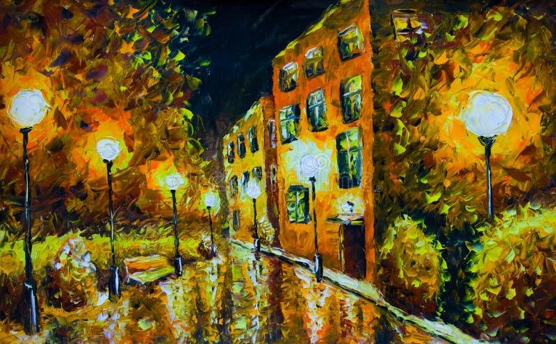 Pintura al leo calle de la ciudad de la noche con las - Casas viejas al oleo ...