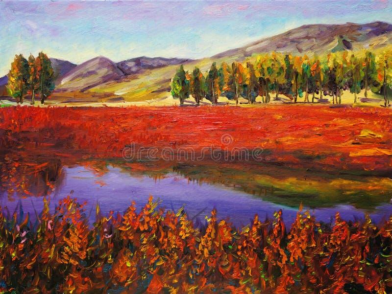 Pintura al óleo - campo del otoño stock de ilustración