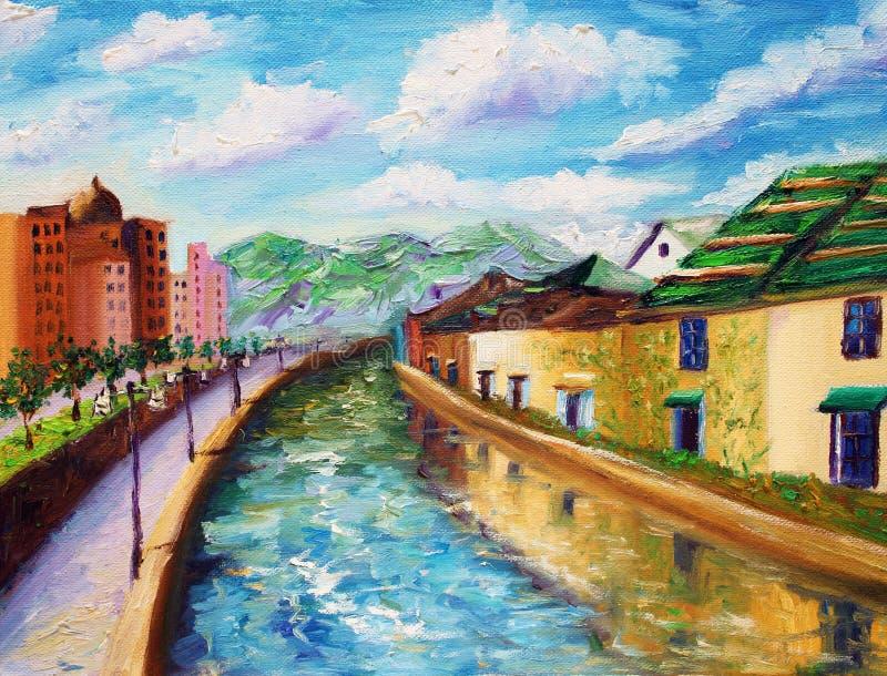 Pintura al óleo - canales de Otaru, Japón stock de ilustración