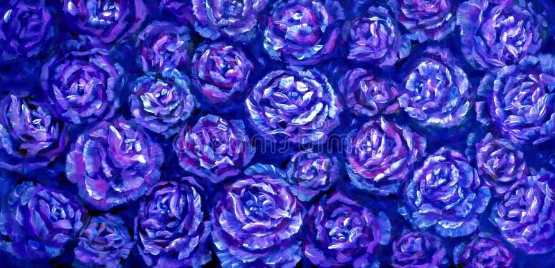 Pintura al óleo color de rosa de la textura de la peonía de las flores Fondo pintado a mano abstracto de las flores fotos de archivo