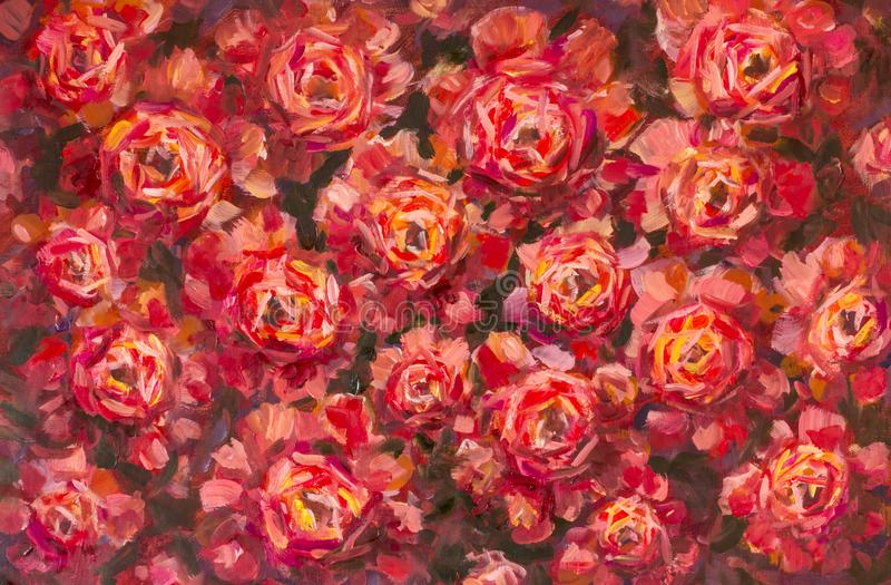 Pintura al óleo color de rosa de la textura de la peonía de las flores violetas rojas La mano-paintet abstracta florece el fondo stock de ilustración