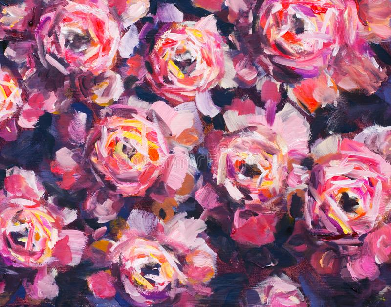 Pintura al óleo color de rosa de la textura de la peonía de las flores violetas rojas La mano-paintet abstracta florece el fondo libre illustration